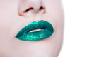 Woman  Lips With Glossy Green Lipstick Royalty Free Stock Images - 74816739