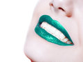 Woman  Lips With Glossy Green Lipstick Royalty Free Stock Photo - 74816745