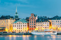 Scenic View Of Embankment In Old Part Of Stockholm At Summer Evening Royalty Free Stock Image - 74827766