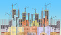 Building City Under Construction Website With Tower Cranes.  Stock Photos - 74828033