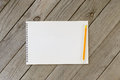 Open Notebook With Blank Pages And Pencil Stock Images - 74849094