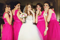 Bride And Bridesmaids Flirt Standing In The Restaurant Royalty Free Stock Photography - 74858907