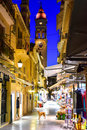 Corfu Old Town (Kerkyra) City Streets By Night. Royalty Free Stock Images - 74859929