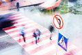 People Go To The Crossroads At A Pedestrian Crossing. Blurred Motion. Royalty Free Stock Photos - 74866808