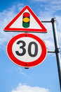 Traffic Lights And Speed Limit 30 Km Per Hour Royalty Free Stock Photography - 74887217