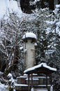 Snow Falling On Buddha At Temple S Garden, Kyoto Japan. Stock Photo - 74887370