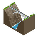 Bridge Over The River In The Mountains. Bridge Construction Flat Isometric Vector Illustration. Royalty Free Stock Images - 74896669
