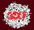 Happy New Year 2017. Doodle Hipster Background Royalty Free Stock Photography - 74900067