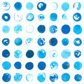 Blue Cyan Circles Created With Round Handmade Ink Stamps Stock Image - 74900781