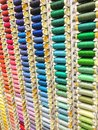Sewing Threads Spools Multi Colored Background Stock Photo - 74906830