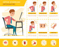 Man Office Syndrome Info Graphic And Stretching Exercise Royalty Free Stock Photos - 74906848