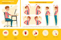 Man Office Syndrome Info Graphic And Stretching Exercise Stock Images - 74906854