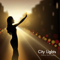 Girl Silhouette In City Lights Royalty Free Stock Photos - 74911758