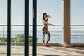 Fitness Woman Standing In The Balcony And Drinking Water Stock Photography - 74913172