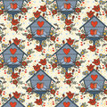 Seamless Pattern With Lovely Birds Couples In Nesting Box Stock Photo - 74919600