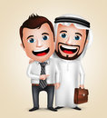 Arab Man And Businessman Vector Characters Happy Business Partners Royalty Free Stock Image - 74945236