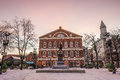 Faneuil Hall And The Boston Skyline Stock Image - 74945401