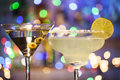 Glasses Of Margarita And Martini Cocktails Stock Photo - 74955370
