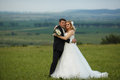 Bride And Groom Pose On The Green Field With A Great Landscape B Stock Photos - 74964283