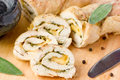 Stuffed Roll Of Chicken With Cheese And Sage Stock Photo - 74969260