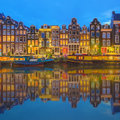 Amstel River, Canals And Night View Of Beautiful Amsterdam City. Netherlands Royalty Free Stock Images - 74974769