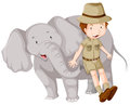 Boy In Safari Outfit And Elephant Royalty Free Stock Images - 74985899
