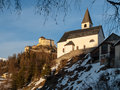 Tarasp Church And Castle In Swiss Alps Royalty Free Stock Photography - 75007557