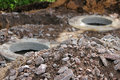 Two Storm Drains, During Repair Work On The Road In The Leningrad Region. Stock Photo - 75008120