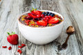 Acai Breakfast Superfoods Smoothies Bowl With Chia Seeds, Bee Pollen, Goji Berry Toppings And Peanut Butter. Overhead Royalty Free Stock Photo - 75011545