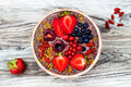 Acai Breakfast Superfoods Smoothies Bowl With Chia Seeds, Bee Pollen, Goji Berry Toppings And Peanut Butter. Overhead Stock Photos - 75011553