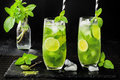 Matcha Iced Green Tea With Lime And Fresh Mint On Black Stone Slate Background. Super Food Drink. Royalty Free Stock Photos - 75011848