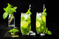 Matcha Iced Green Tea With Lime And Fresh Mint On Black Stone Slate Background. Super Food Drink. Royalty Free Stock Photo - 75012105