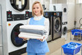 Portrait Of A Woman Laundry Worker Stock Image - 75023441