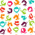Seamless Pattern With Monsters Vector Illustration Stock Photography - 75024032
