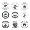 Wine Club And Restaurant Emblems And Labels Set Royalty Free Stock Images - 75032389
