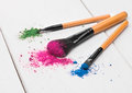 Brushes For The Eyes With Shadows For The Eyes Royalty Free Stock Photography - 75038187
