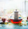 Breakfast Scene With Pot Of Tea , Cup And Cake At Window Royalty Free Stock Images - 75038489