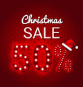 Christmas Sale 50 Percent  Retro Sign Stock Image - 75045671