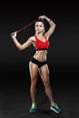 Sportswoman Exercising With A Resistance Band. Black And White Photo Royalty Free Stock Photo - 75071595