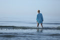 Girl Walking In The Water Stock Image - 75075301