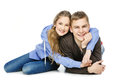 Teenage Boy And Girl Isolated On White Stock Images - 75083714