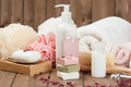 Soap Bars, Towels, Wisps. Body Care Kit. Dried Rose Petals. Stock Photography - 75087702