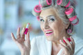 Senior Woman In  Hair Rollers Royalty Free Stock Images - 75092479