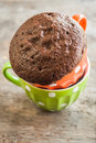 Chocolate Pie In A Cup Filled With A Liquid Royalty Free Stock Images - 75098059