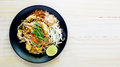 Stir-fried Rice Noodles (Pad Thai) Is The Popular Food Thailand Royalty Free Stock Photo - 75106935