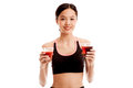 Beautiful Healthy Asian Girl With Tomato Juice And Cola Drinks Stock Photos - 75112393