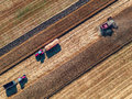 Aerial View Of Combine On Harvest Field Royalty Free Stock Photography - 75115927