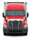 Red Freightliner Cascadia Truck Front View. Royalty Free Stock Image - 75123626