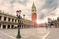 San Marco Square With Campanile In Sunrise. Venice, Italy. Royalty Free Stock Photos - 75144458