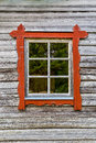 One Window With Red Frames On Log House Wall, Traditional Style. Royalty Free Stock Photo - 75149765